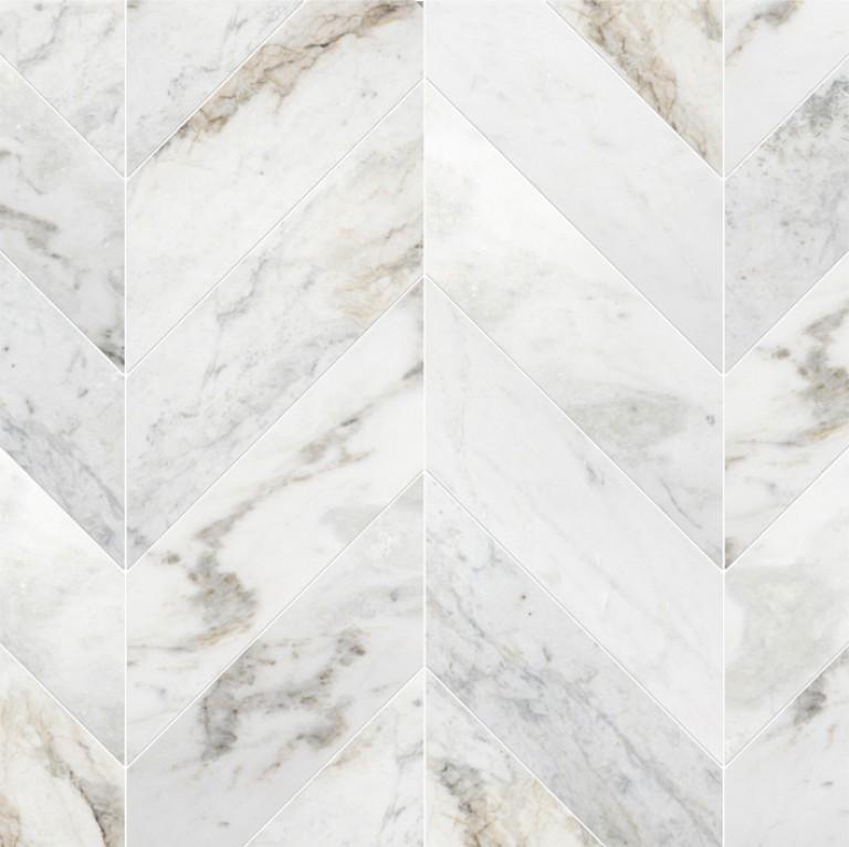 0.183 SFT/SH Honed Chevron Bianco Dore Marble Tile
