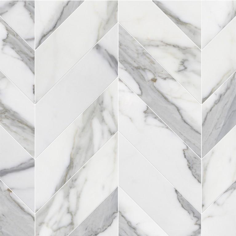 0.183 SFT/SH Polished Chevron Calacatta Gold Marble Tile