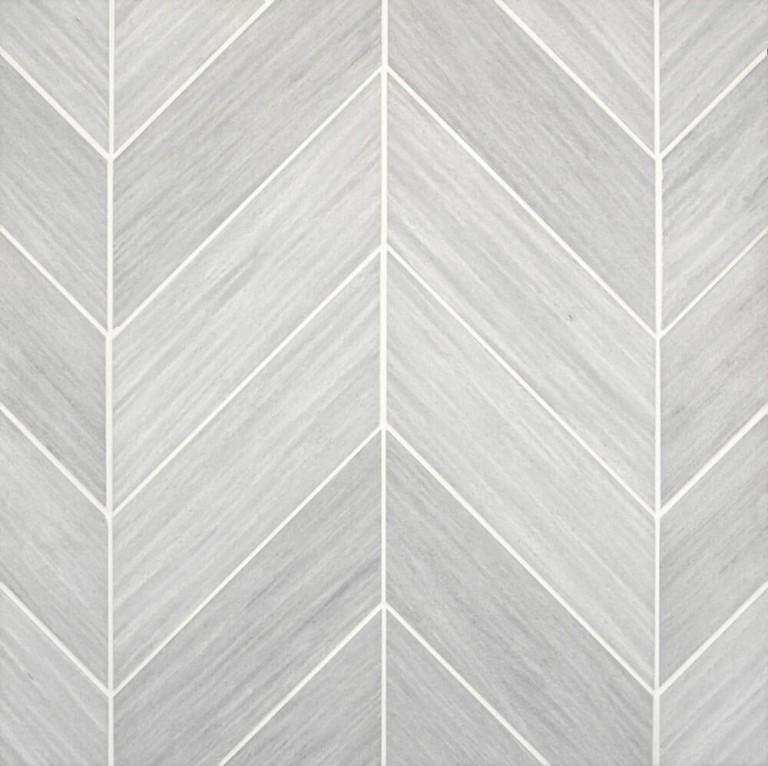 0.183 SFT/SH Honed Chevron Solto Grey Marble Tile