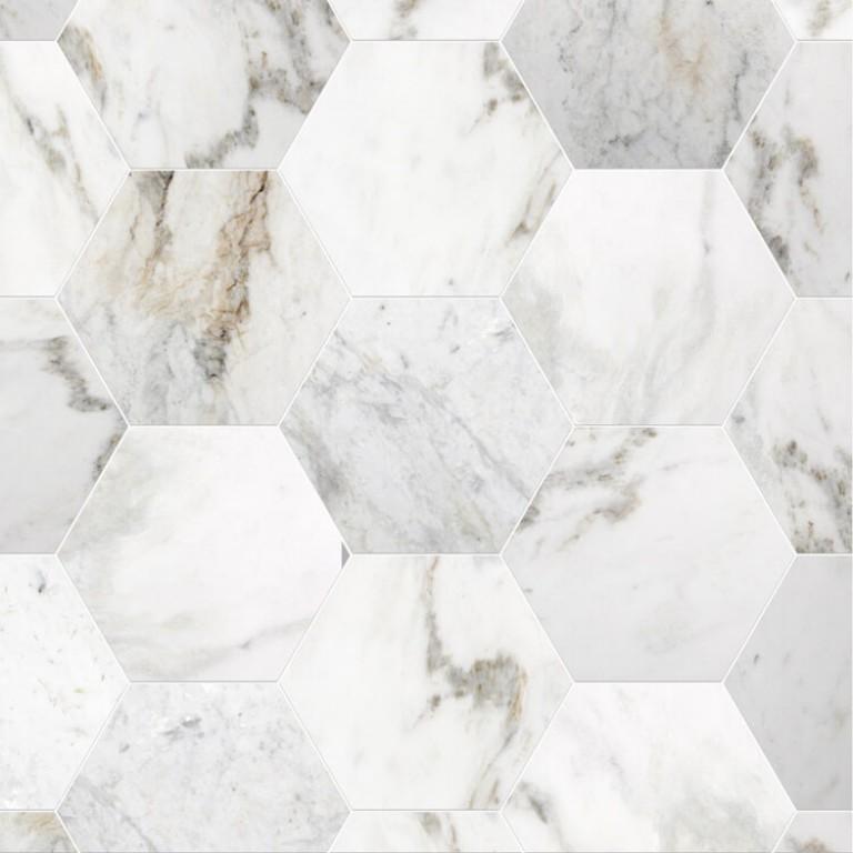 0.175 SFT/SH Polished Hexagon Bianco Dore Marble Tile