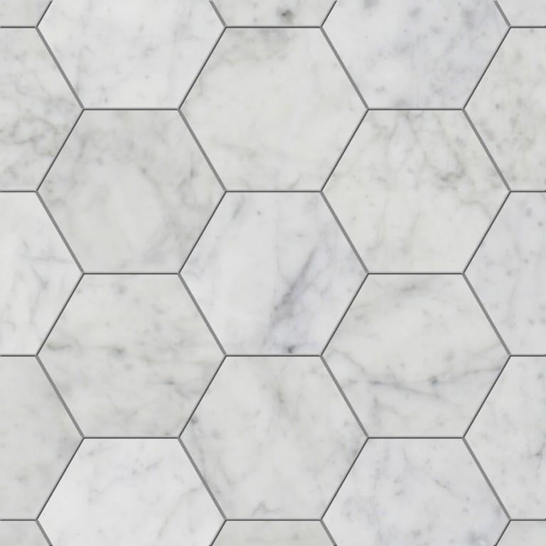 0.175 SFT/SH Honed Hexagon Cararra Marble Tile