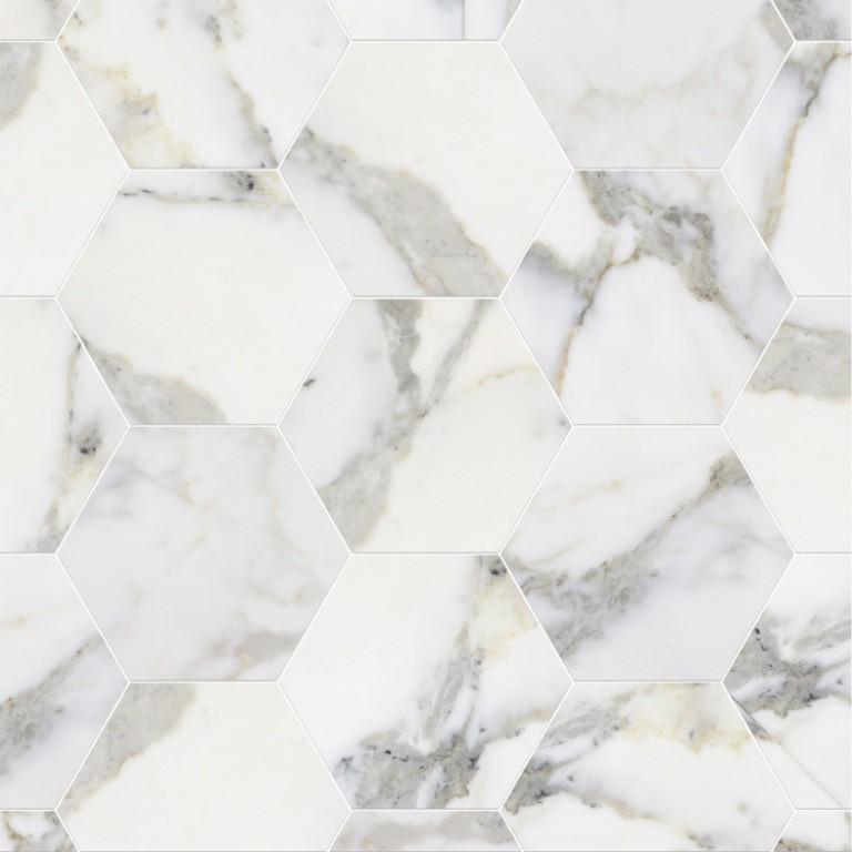 0.175 SFT/SH Honed Hexagon Calacatta Gold Marble Tile