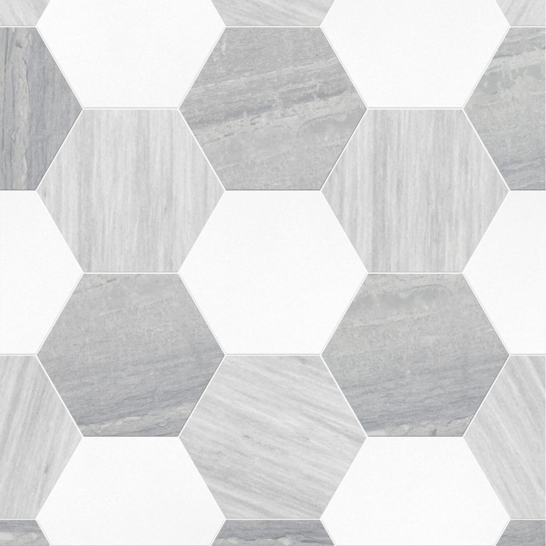 0.175 SFT/SH Honed Hexagon Thassos Ponza Verde Marble Tile