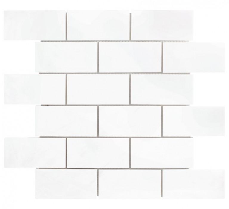 """Bianco Dolomite Marble 2""""X4"""" Polished Mosaic Tile"""
