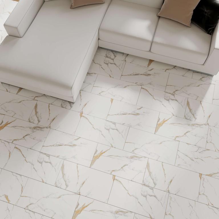 "Calacatta Gold 12""X24"" Satin Matte Rectified Porcelain Tile"
