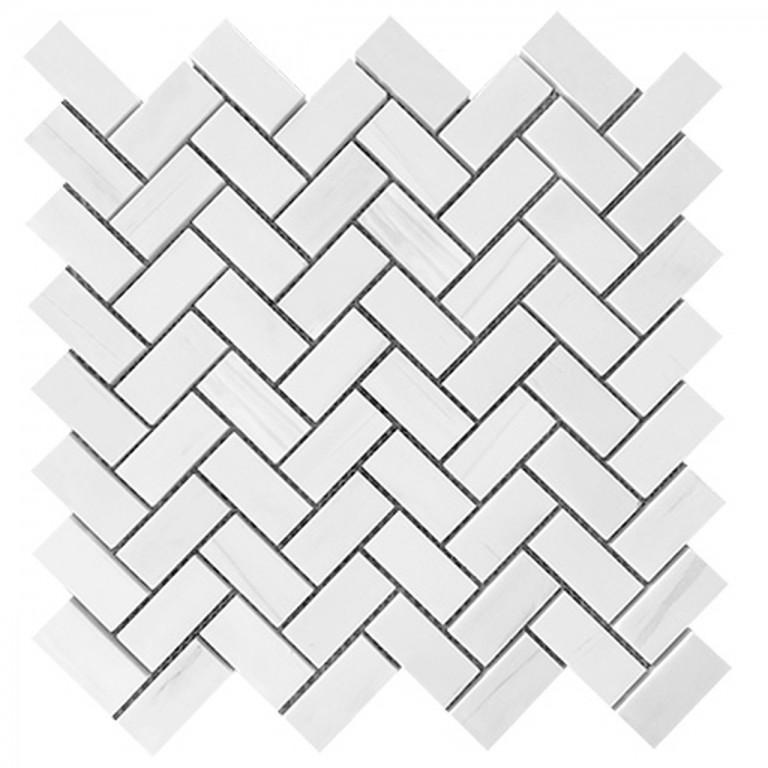 "Bianco Dolomite Marble 1""X2"" Herringbone Polished Mosaic Tile"