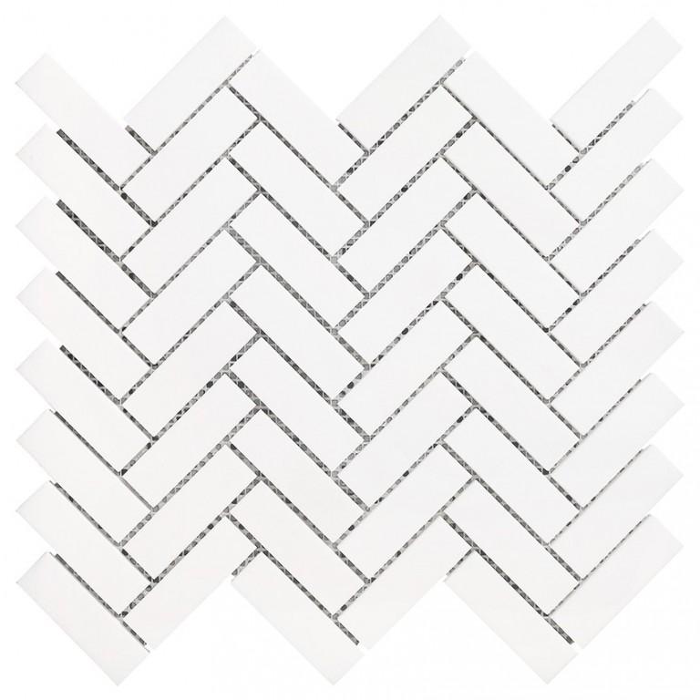 """Bianco Dolomite Marble 1""""X3"""" Herringbone Honed Mosaic Tile"""