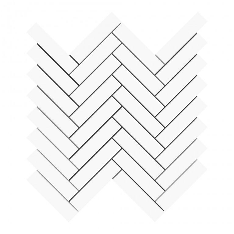 """Bianco Dolomite Marble 1""""X4"""" Herringbone Honed Mosaic Tile"""