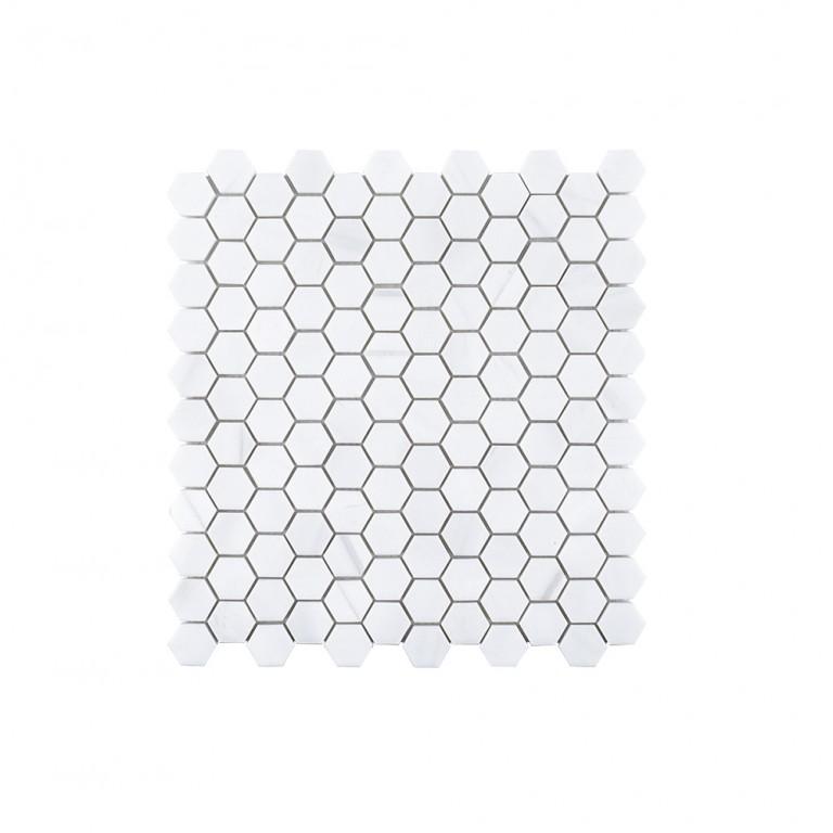 """Bianco Dolomite Marble 1"""" Hexagon Polished Mosaic Tile"""