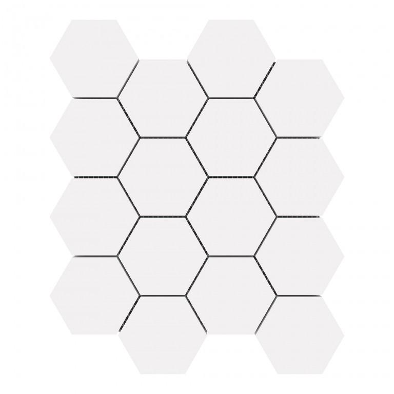 "Bianco Dolomite Marble 3"" Hexagon Honed Mosaic Tile"