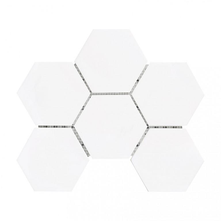 "Bianco Dolomite Marble 4"" Hexagon Honed Mosaic Tile"
