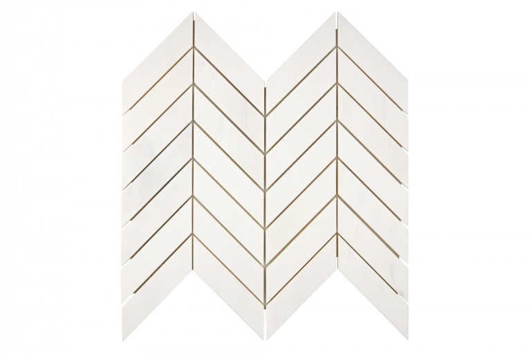 "Bianco Dolomite Marble 1""X4"" Chevron Honed Mosaic Tile"
