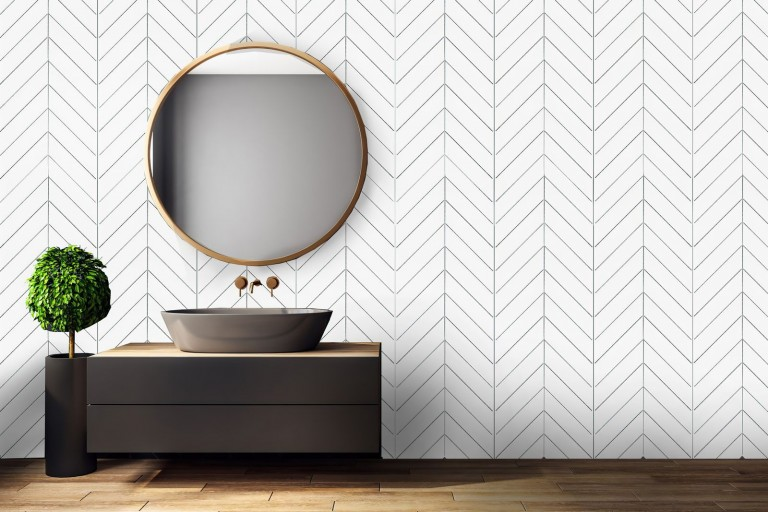 """Bianco Dolomite Marble 2""""X8"""" Chevron Polished Mosaic Tile"""