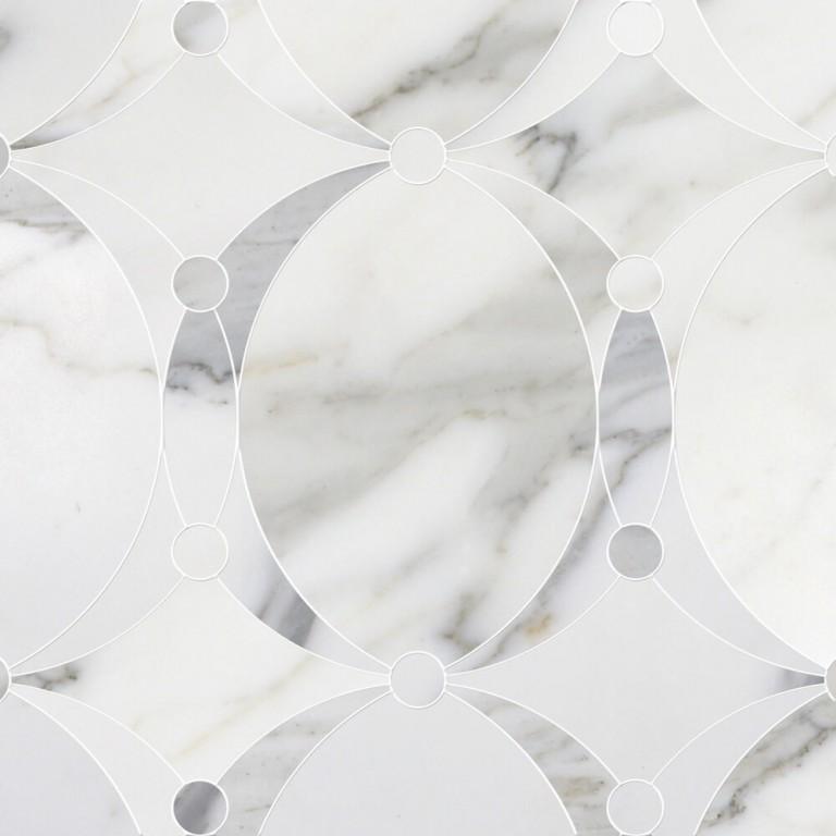 0.73 SFT/SH Honed Mirage Calacatta Gold Macro Mosaic Marble Tile