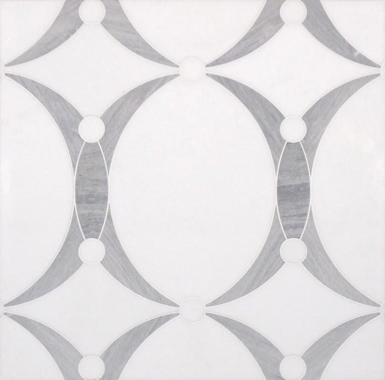 0.73 SFT/SH Honed Mirage Thassos Macro Mosaic Marble Tile