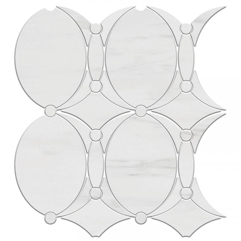 0.73 SFT/SH Honed Mirage Bianco Dolomite Mini Mosaic Marble Tile