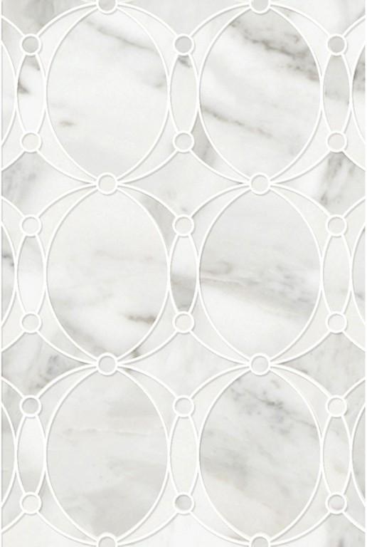 0.83 SFT/SH Polished Mirage Calacatta Gold Mini Mosaic Marble Tile