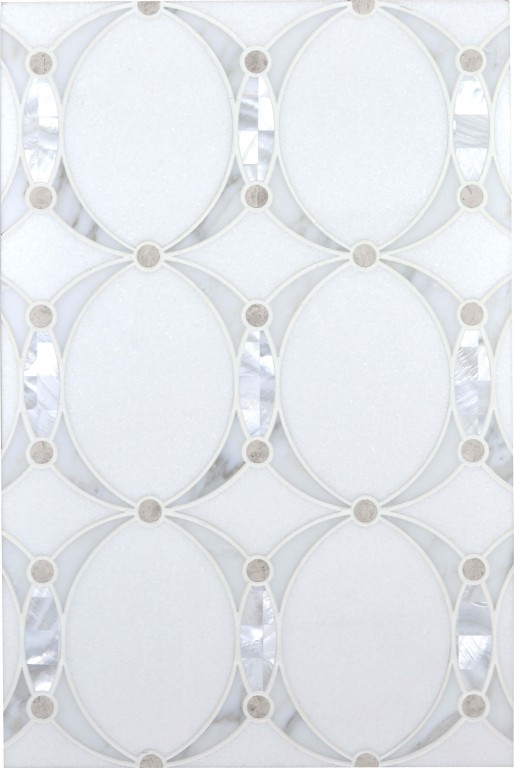 0.83 SFT/SH Polished Mirage Mother of Pearl Mini Mosaic Marble Tile