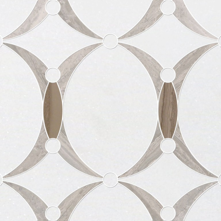 0.73 SFT/SH Polished Mirage Thassos Macro Mosaic Marble Tile