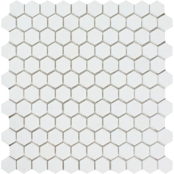 1 x 1 Honed Thassos White Marble Hexagon Mosaic Tile
