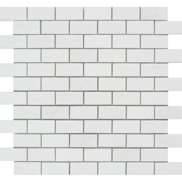 1 x 2 Honed Thassos White Marble Brick Mosaic Tile