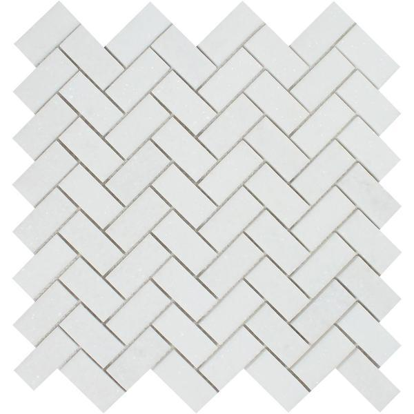 1 x 2 Honed Thassos White Marble Herringbone Mosaic Tile