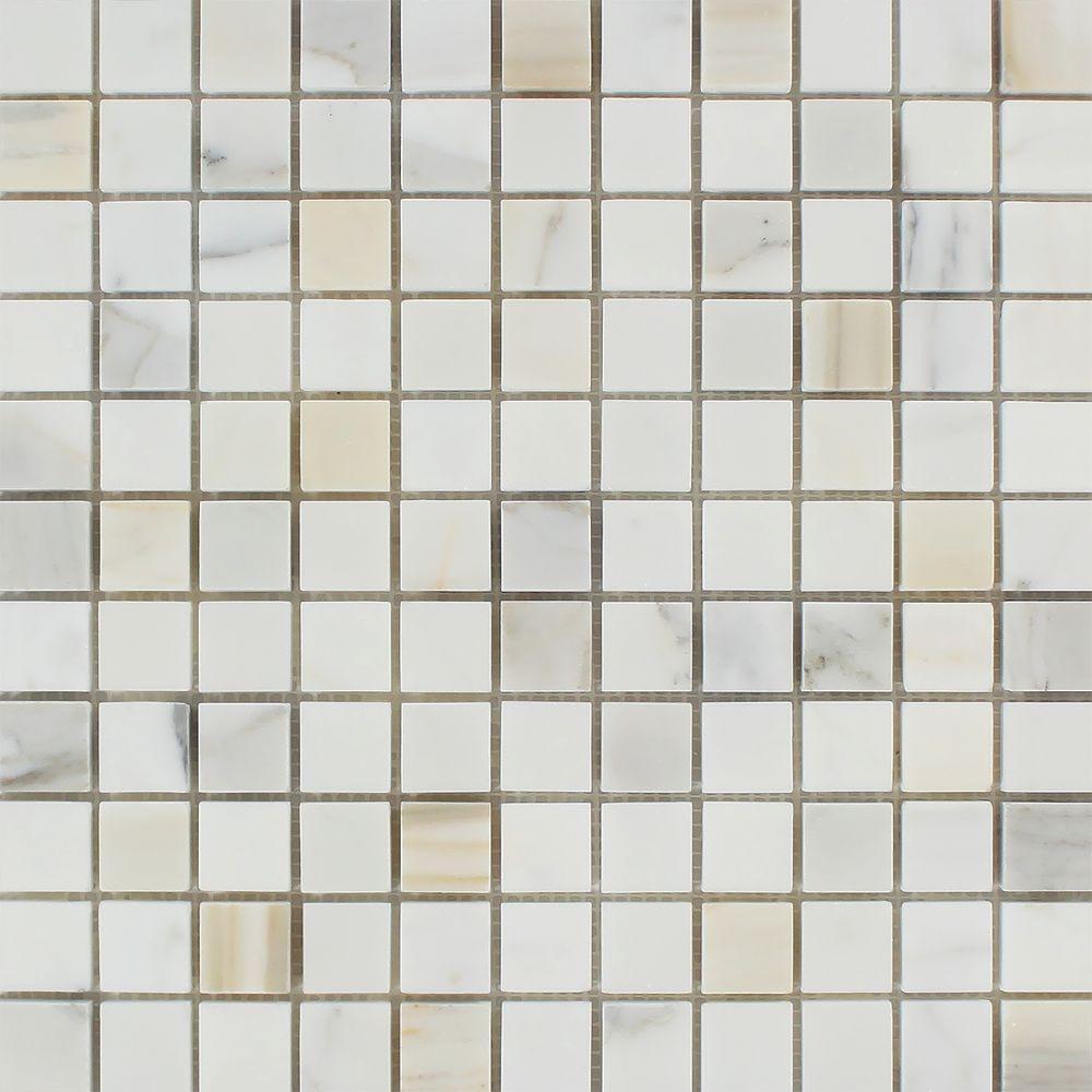 1 x 1 Honed Calacatta Gold Marble Mosaic Tile