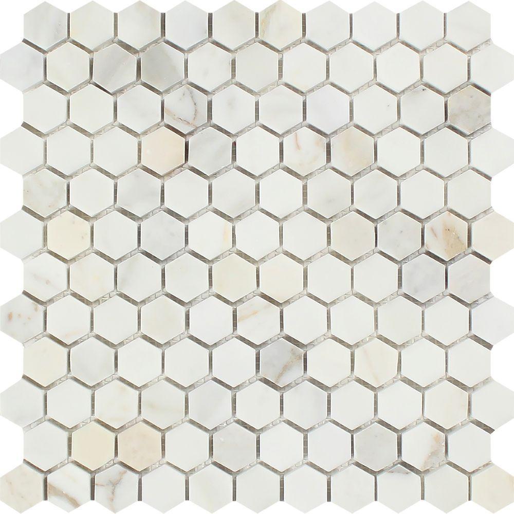 1 x 1 Honed Calacatta Gold Marble Hexagon Mosaic Tile