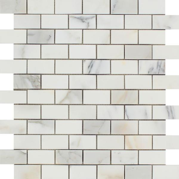1 x 2 Honed Calacatta Gold Marble Brick Mosaic Tile