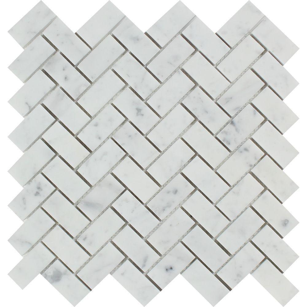 1 x 2 Honed Bianco Carrara Marble Herringbone Mosaic Tile