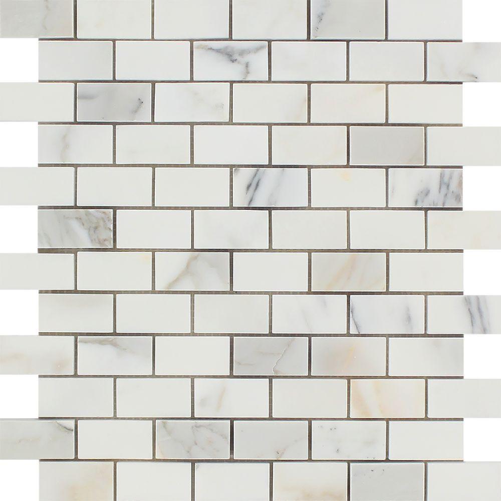 1 x 2 Polished Calacatta Gold Marble Brick Mosaic Tile