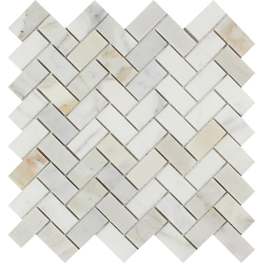 1 x 2 Polished Calacatta Gold Marble Herringbone Mosaic Tile