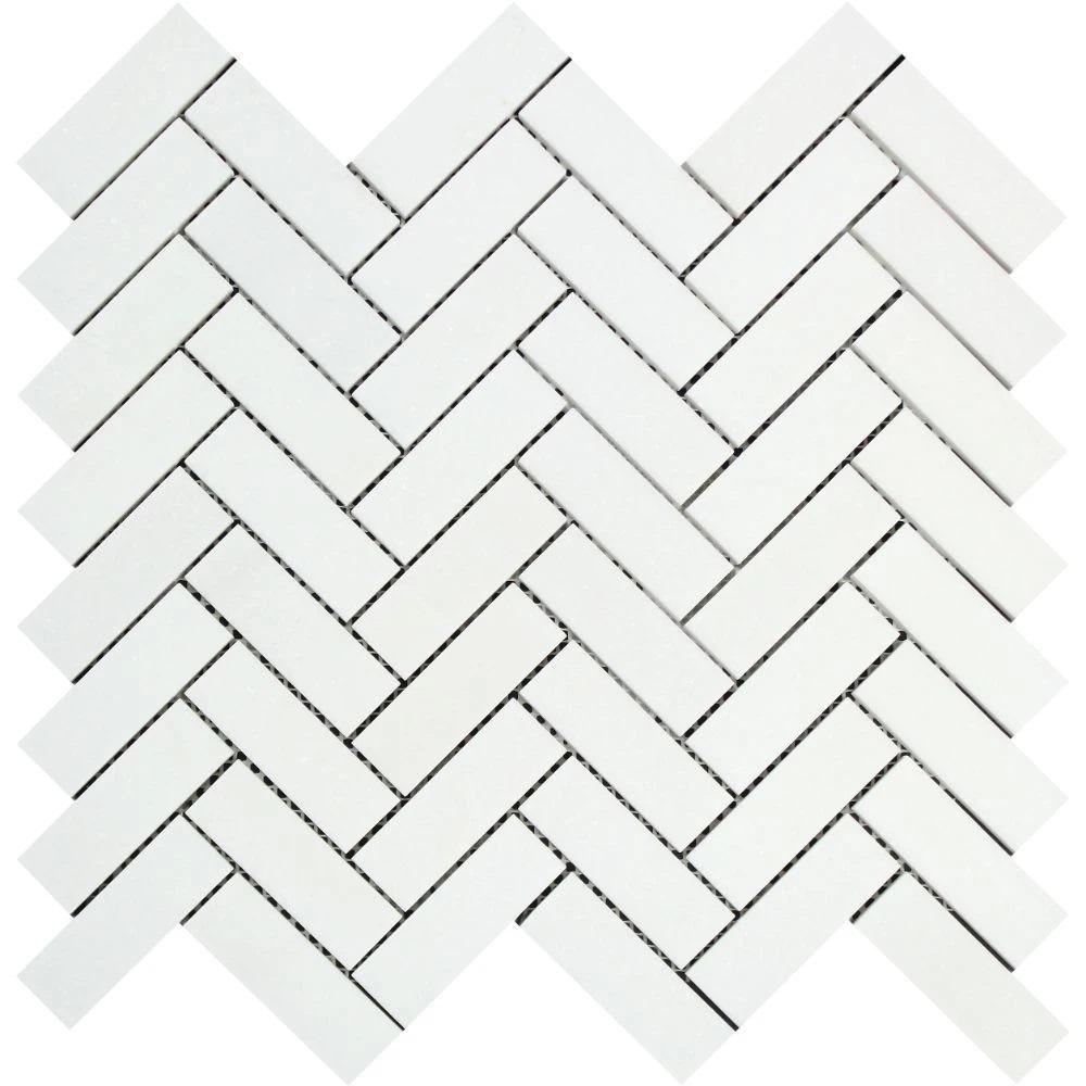 1 x 3 Honed Thassos White Marble Herringbone Mosaic Tile