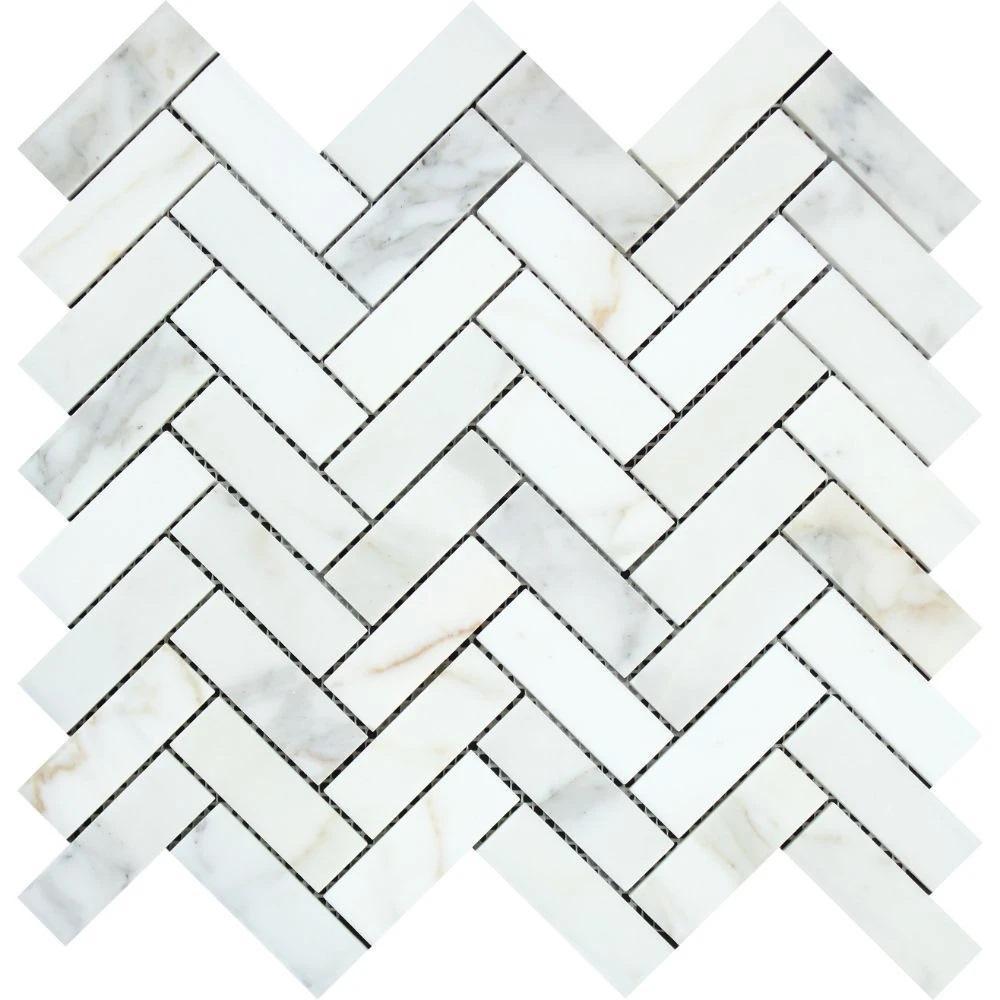 1 x 3 Polished Calacatta Gold Marble Herringbone Mosaic Tile