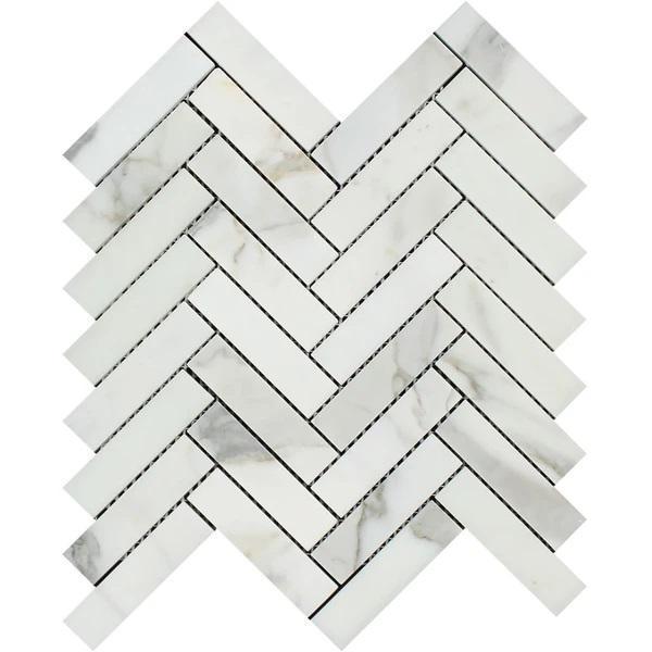 1 x 4 Honed Calacatta Gold Marble Herringbone Mosaic Tile