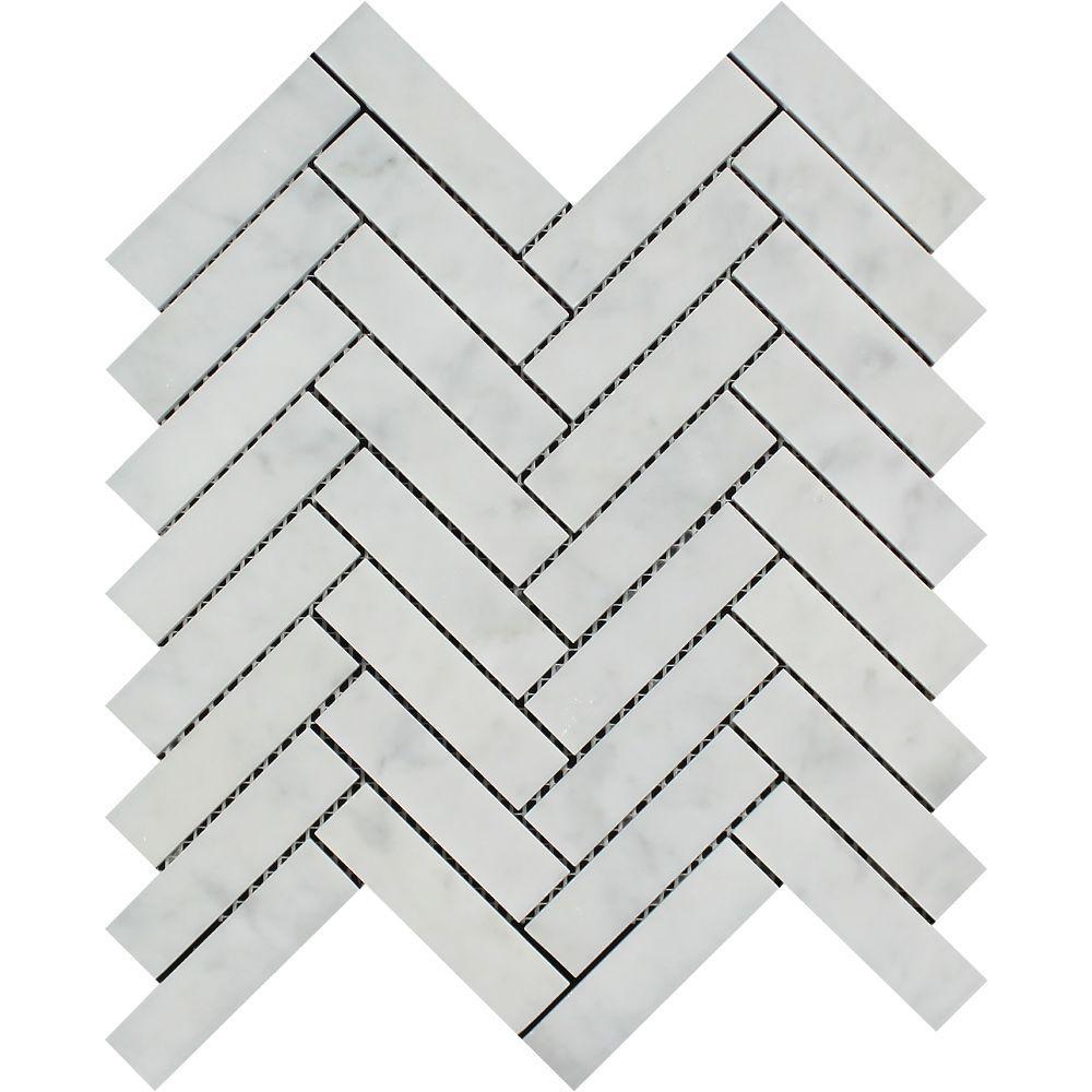 1 x 4 Polished Bianco Carrara Marble Herringbone Mosaic Tile