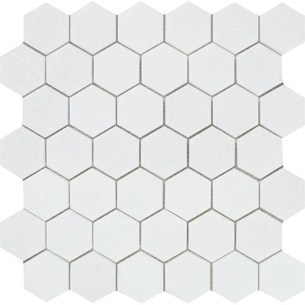 2 x 2 Honed Thassos White Marble Hexagon Mosaic Tile