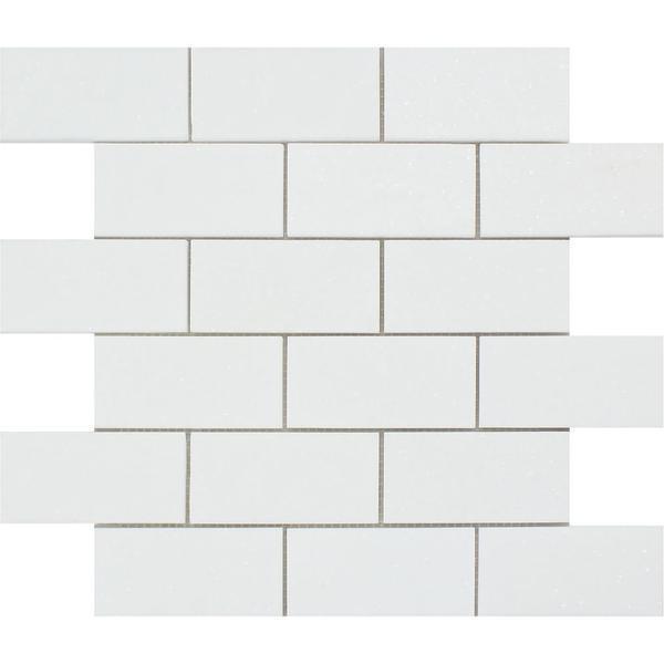 2 x 4 Honed Thassos White Marble Brick Mosaic Tile