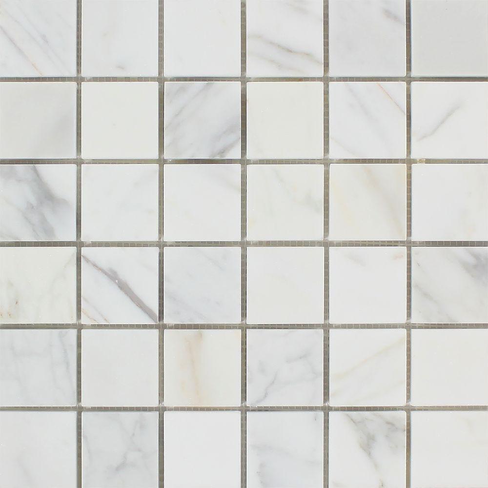2 x 2 Honed Calacatta Gold Marble Mosaic Tile