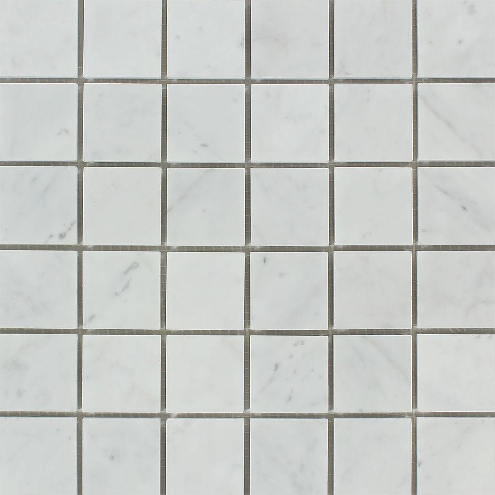 2 x 2 Polished Bianco Carrara Marble Mosaic Tile