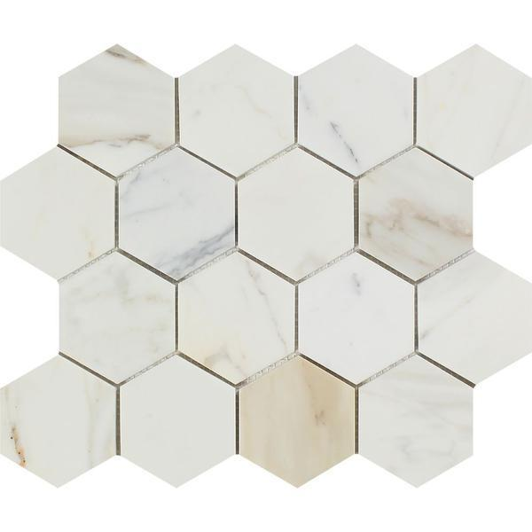 3 x 3 Polished Calacatta Gold Marble Hexagon Mosaic Tile