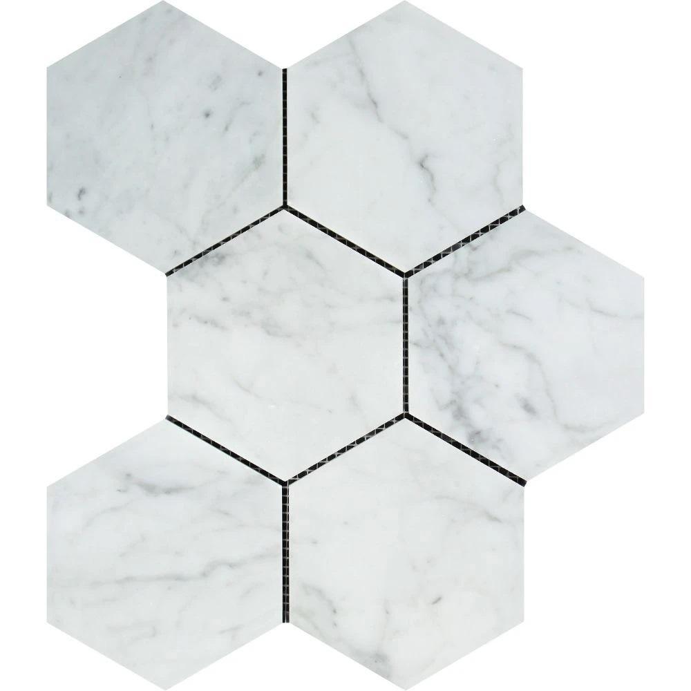 5 x 5 Polished Bianco Carrara Marble Hexagon Mosaic Tile