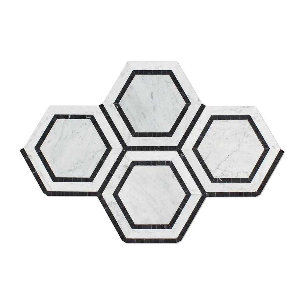 5 x 5 Polished Bianco Carrara Marble Hexagon Mosaic Tile (w/ Black)