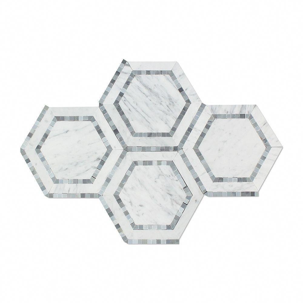 5 x 5 Polished Bianco Carrara Marble Hexagon Mosaic Tile (w/ Blue-Gray)