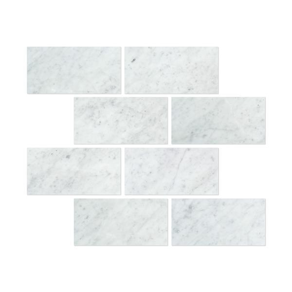 6 x 12 Honed Bianco Carrara Marble Tile