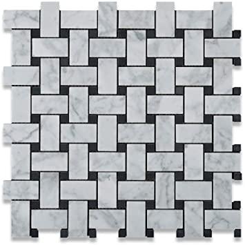 Bianco Carrara Honed Marble Basketweave Mosaic Tile (w/ Black Dots)