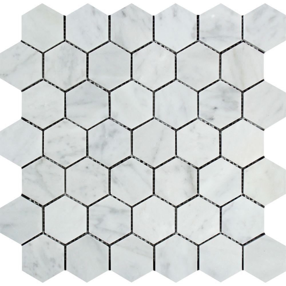 2 x 2 Polished Bianco Carrara Marble Hexagon Mosaic Tile
