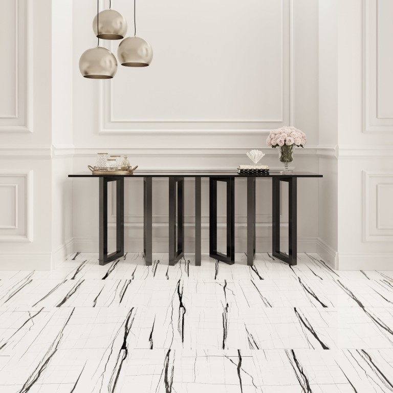 """White 24""""X48"""" Polished Rectified Porcelain Tile"""